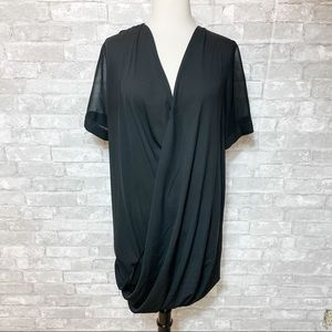 Topshop Sheer Overlay Short Sleeve Black Dress